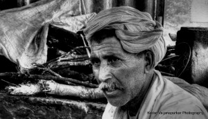 earned wrinkles portrait of corn seller
